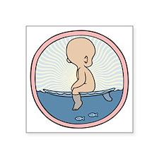 """surfer-womb-T Square Sticker 3"""" x 3"""""""