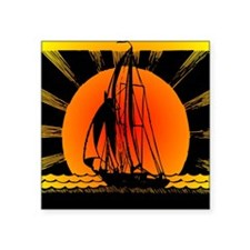 "blk_Sailboat_Sunset Square Sticker 3"" x 3"""
