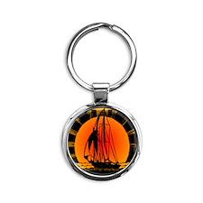 blk_Sailboat_Sunset Round Keychain