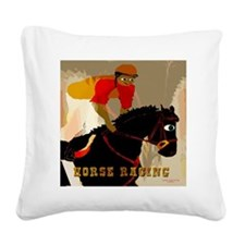 horse racing10x10 Square Canvas Pillow