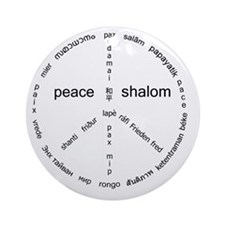 white_peace_10x10_world_lang Round Ornament