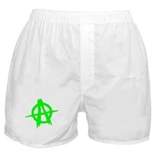 Anarchy Symbol Green Boxer Shorts