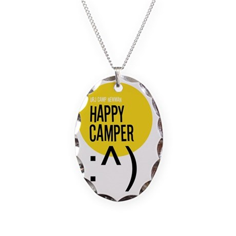Happy-Camper Necklace Oval Charm