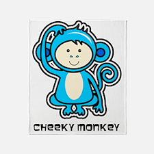 blue monkey icon Throw Blanket