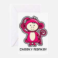 pink monkey icon Greeting Card