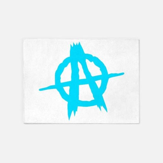 Anarchy Symbol Blue 5'x7'Area Rug