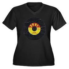 Soul Record  Women's Plus Size Dark V-Neck T-Shirt