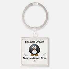 Eat Lots Of Fish Square Keychain