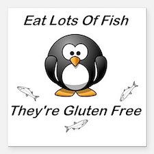 "Eat Lots Of Fish Square Car Magnet 3"" x 3"""