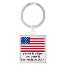 Spend it where you earn it 1400x14 Square Keychain