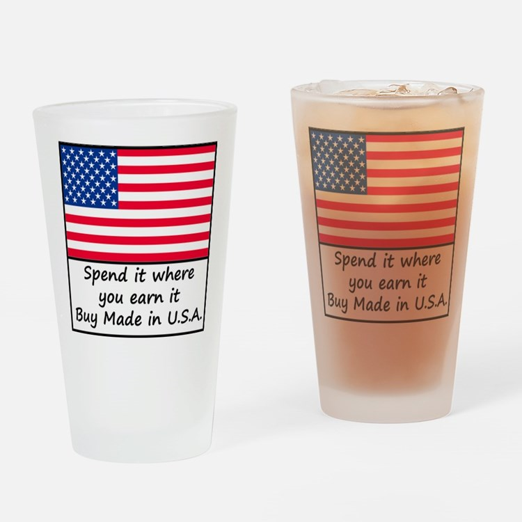 Spend it where you earn it 1400x140 Drinking Glass