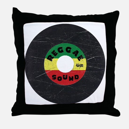 Reggae Record - Scratch Texture Throw Pillow