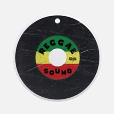 Reggae Record - Scratch Texture Round Ornament