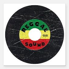 """Reggae Record - Scratch  Square Car Magnet 3"""" x 3"""""""