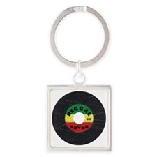 Reggae Record - Scratch Texture Square Keychain