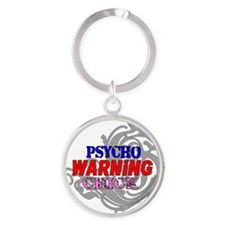 WARNING psycho Chick 3 Round Keychain