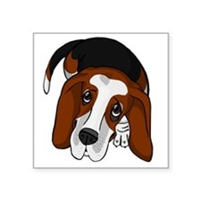 "Cute Basset Hound Puppy Square Sticker 3"" x 3"""