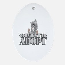 Opt To Adopt (cat) Oval Ornament