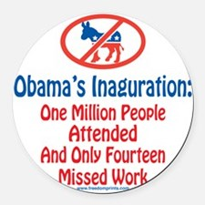 Million People Attended Obamas In Round Car Magnet