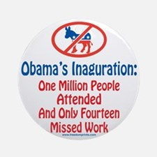 Million People Attended Obamas Inag Round Ornament