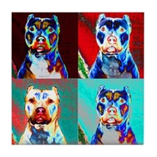 Pit Bull Terrier Pop Art Violet Tile Coaster
