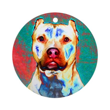 Pit Bull Terrier Pop Art Violet Ornament (Round)