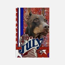 July_4_Firecracker_Doberman_Rocky Rectangle Magnet