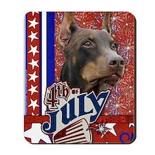 July_4_Firecracker_Doberman_Rocky Mousepad