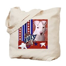July_4_Firecracker_Pitbull_Petey_Sq Tote Bag