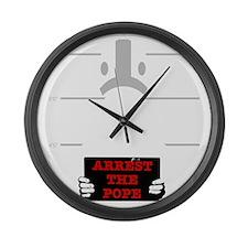 arrestpope_black Large Wall Clock