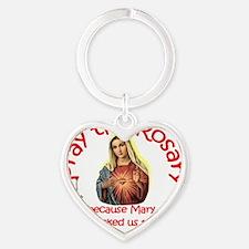 pray_button_round_4x4_white Heart Keychain