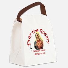 pray_button_round_4x4_white Canvas Lunch Bag