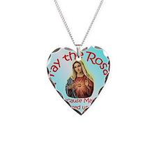 pray_button_round_4x4_blue Necklace