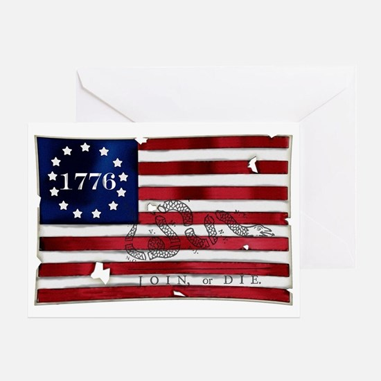 1776_american_flag_old copy Greeting Card