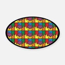 Puzzle Oval Car Magnet