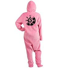 2-Hunab Ku bw clock Footed Pajamas