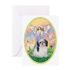 Angel Blessing a Shih Tzu (black and Greeting Card