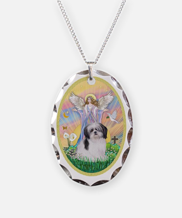 Angel Blessing a Shih Tzu (bla Necklace Oval Charm