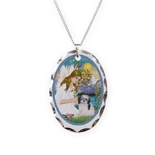 Angel Love and Shih Tzu (A) Necklace Oval Charm