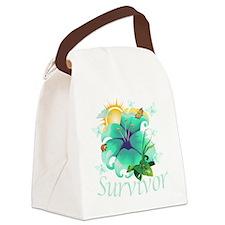 Survivor flower teal Canvas Lunch Bag