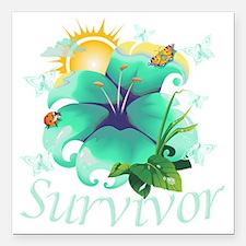 """Survivor flower teal Square Car Magnet 3"""" x 3"""""""
