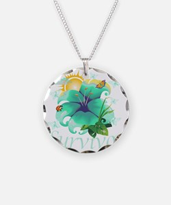 Survivor flower teal Necklace