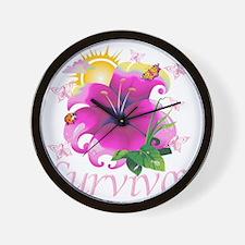 Survivor flower pink Wall Clock