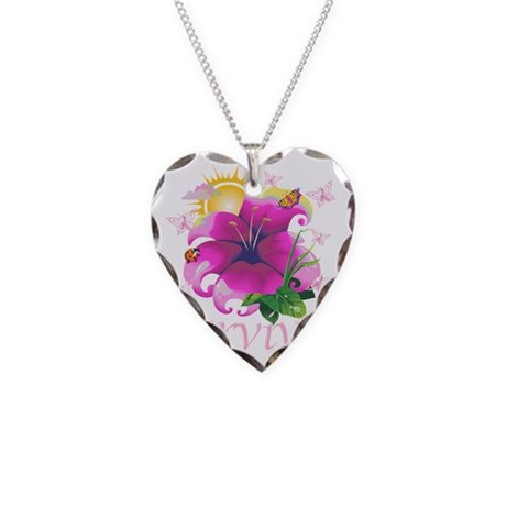 Survivor flower pink Necklace Heart Charm