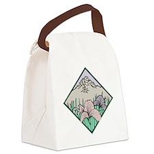 blk_floral_mountain Canvas Lunch Bag