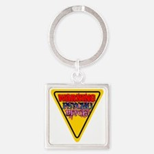 Warning Psycho BitchYield Sign flo Square Keychain