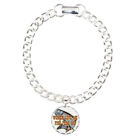 blk_Women_Love_Fish_Fear Charm Bracelet, One Charm