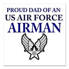 "AIR FORCE DAD Square Car Magnet 3"" x 3"""