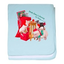 Pot Belly Pig Christmas Fun Time baby blanket