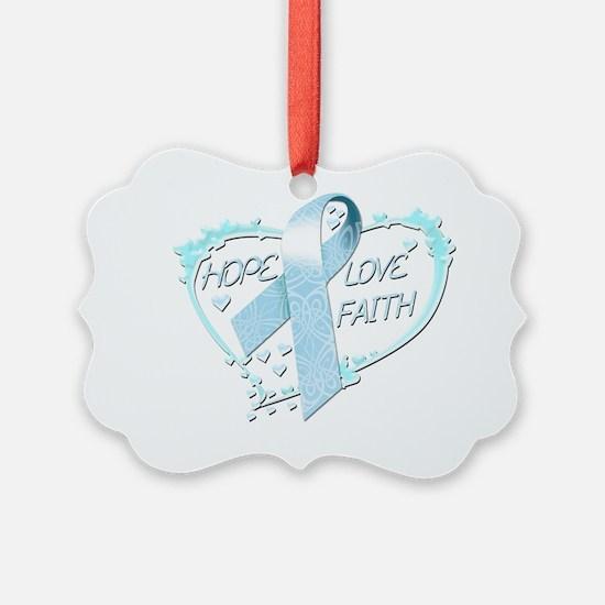 Hope Love Faith Heart (light blue Ornament